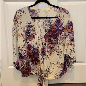 Floral top with tie front
